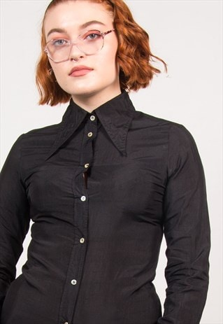VINTAGE 70'S BLACK POINTED COLLAR SHIRT