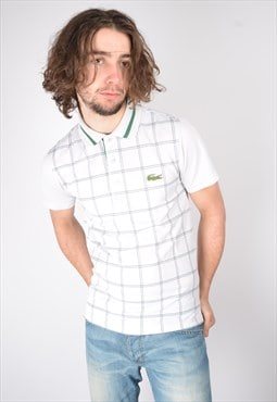Vintage Lacoste Polo Shirt Check In White