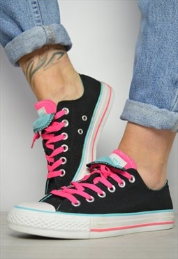 90s Converse Black with Blue & Pink Double Tongue Ox Shoes