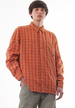 Vintage NIKE ACG 90s Orange Checked Long Sleeve Outdoor