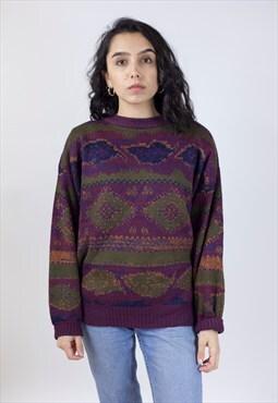 Vintage 90's Patterned Woolen Jumper