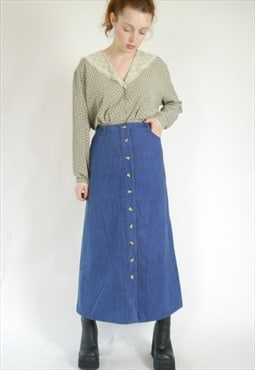 Vintage 70s button down denim mid high waisted skirt