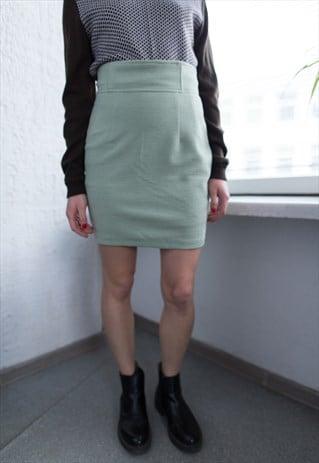 VINTAGE 80'S GREEN RIBBED MINI HIGH WAISTED SKIRT