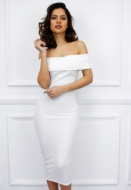 Glamzam White Off The Shoulder Calf Length Bodycon Dress