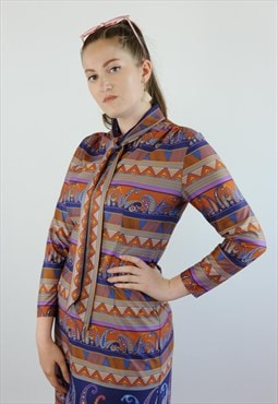 Womens Vintage 70s dress patterned long sleeved pussybow