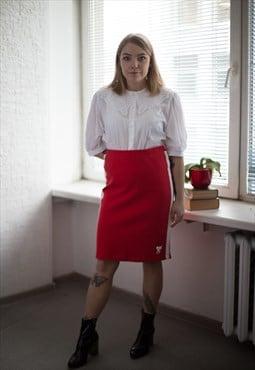 Vintage 90's Red Midi Cotton Skirt