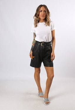 High Waisted Leather Shorts Bohemian UK 8 - 10 (H7CM)