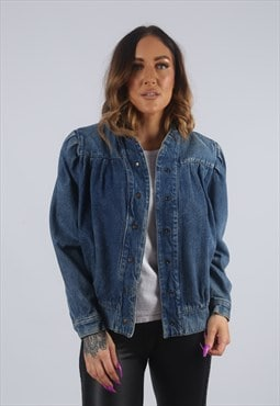 Vintage Denim Bomber Jacket Oversized Fitted UK 12 M (KBE)