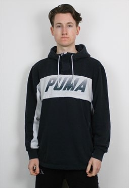 Vintage Puma 1/4 Zip Hoodie in Navy Blue with Graphic Print