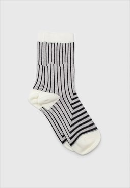Ivory and black geometric socks