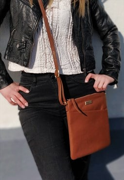 Real Soft Leather Crossbody Bag for Women - Tan Sling Bag