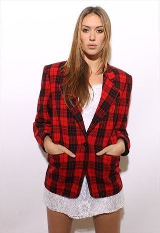 VINTAGE 1980'S 80'S RED BUFFALO CHECK PLAID SUIT BLAZER M-L
