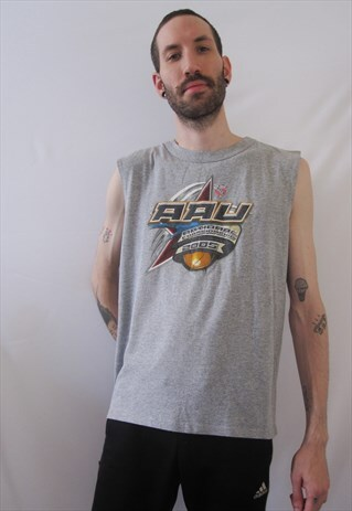 VINTAGE DISNEY SPORTS AAU GREY SLEEVELESS T-SHIRT