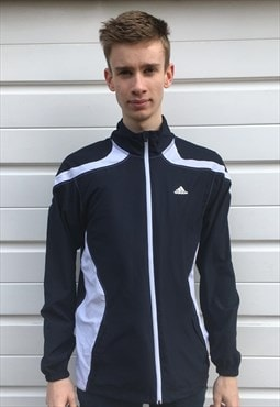 Mens Adidas jacket 3 stripe white blue zip up sportswear top