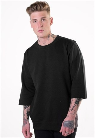 Essential 3/4 Sleeve Jumper T-Shirt - Black