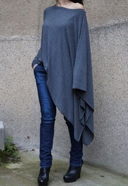 Casual Top Tunic Loose Long Blouse Knit Oversized F1509