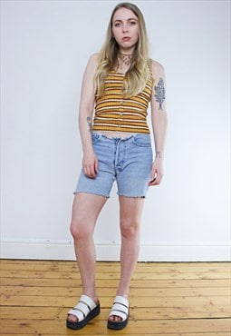 Vintage 90's Distressed Frayed Light Wash Denim Shorts