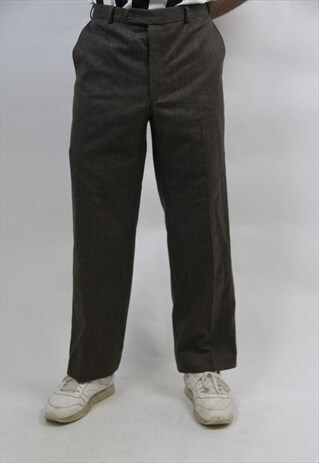 VINTAGE CHECK GREY WOOLEN TROUSERS