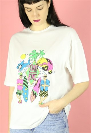 90S DEADSTOCK NEON SURF KING T-SHIRT SUMMER BEACHWEAR