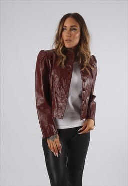 Vintage Leather Jacket Short Cropped UK S 10  (C9BB)