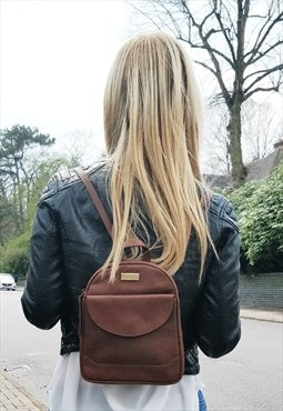 Real Leather Mini Backpack for Women - Tan Rucksack Bag