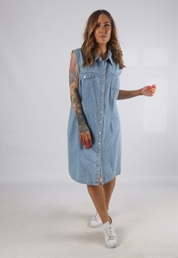 Vintage Denim Dress Sleeveless Knee Length UK 18 (H2G)