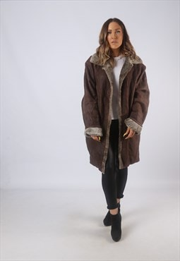 Vintage Sheepskin Suede Shearling Coat UK 16 XL (B3A)