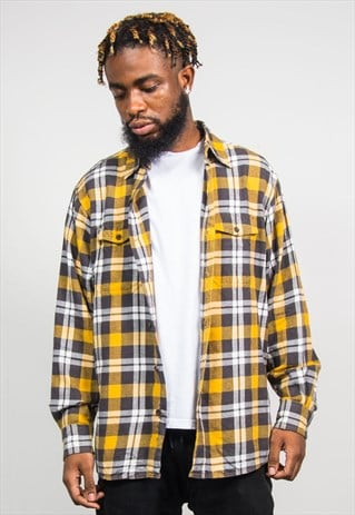 90'S VINTAGE YELLOW GREY CHECK FLANNEL SHIRT