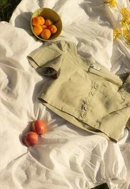 Sage Green Button Front Milkmaid Blouse