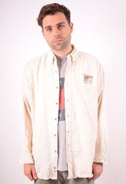 Lee Mens Vintage Shirt Large Beige 90s