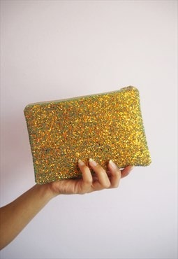 Rust Gold Glitter Makeup Bag