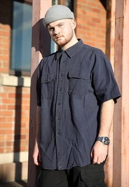 Vintage Tommy Navy Blue Tactical Baggy Plain Shirt