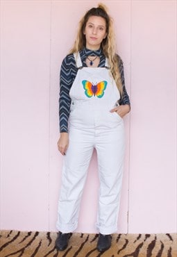 Vintage Hand Painted Butterfly White Denim Dungarees