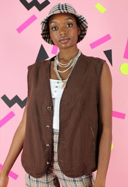 Vintage 90s Moschino Gilet Jacket Vest Y2K Brown Utility Log