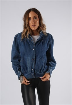 Vintage Denim Bomber Jacket UK 10 Small (JQDP)