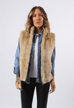 Faux Fur Gilet Waistcoat Jacket Plain UK 12 (G8CN)