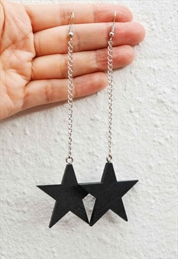 Handmade Black wooden star dangling earring