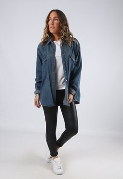 Denim Shirt Oversized Plain Long Vintage UK 16 (DK2E)