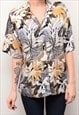 VINTAGE 90'S FLORAL GRUNGE ABSTRACT PATTERNED SHIRT
