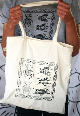 Organic tote bag in natural with dung ecology print
