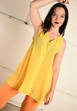 Vintage 90s sheer festival tunic top in yellow