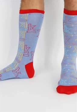 Blue & red cotton socks with coloured K logo