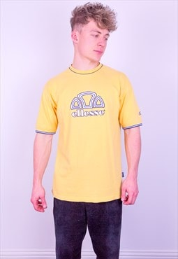Vintage Ellesse Spell Out Embroidery T-Shirt in Yellow