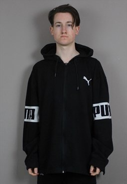 Vintage Puma Hoodie in Black with Printed Spell Out Logo.
