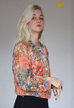 Vintage 80's Floral Patterned Crop Blazer Jacket