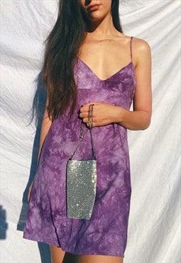 Slip Dress in purple Tie dye and MINI length