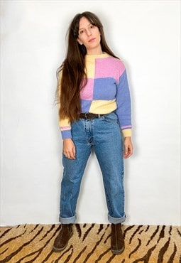 VINTAGE 90's Pastel Hand Knitted Long Sleeve Jumper - S