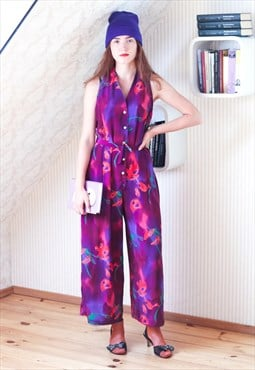 Bright purple sleeveless floral jumpsuit
