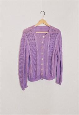 Vintage 90s Purple Knit Cardigan