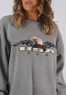 Sweatshirt Jumper Oversized USA EAGLE Logo UK 16 - 18 (CKHP)